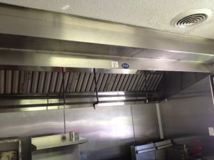 commercial kitchen hood in a restaurant