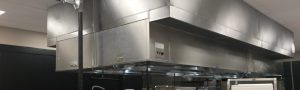 island hood in a commercial kitchen